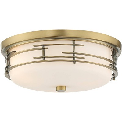 "Franklin Iron Works Modern Ceiling Light Flush Mount Fixture Soft Gold 14"" Wide White Glass Drum for Bedroom Kitchen Living Room"