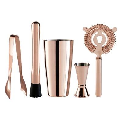 OGGI Copper Plated 5 Piece Barware Cocktail Set
