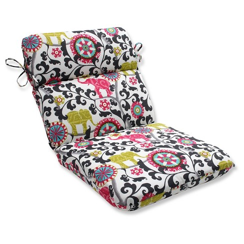 Pillow Perfect Menagerie Spectrum Outdoor One Piece Seat And Back Cushion - Black - image 1 of 1