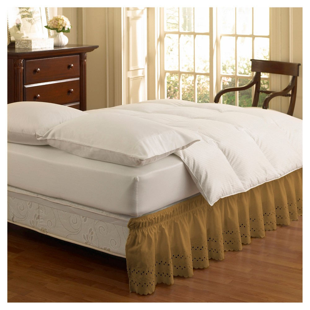 "Image of ""Gold Wrap Around Eyelet Ruffled Bed Skirt (Queen/King) (80""""X60"""") -EasyFit"""