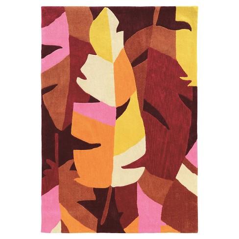 Trio 402 Tropical Leaf Area Rug - Magenta / Ivory (8' X 10') - image 1 of 1