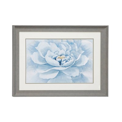 "23.5"" x 17.5"" Peony Flower Print in Rectangular Gray Frame Blue - Olivia & May"