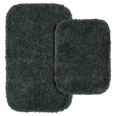 Garland 2 Piece Serendipity Shaggy Washable Nylon Bath Rug Set - Dark Gray