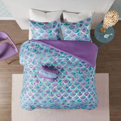 Daphne Metallic Printed Reversible Duvet Cover Set Aqua/Purple
