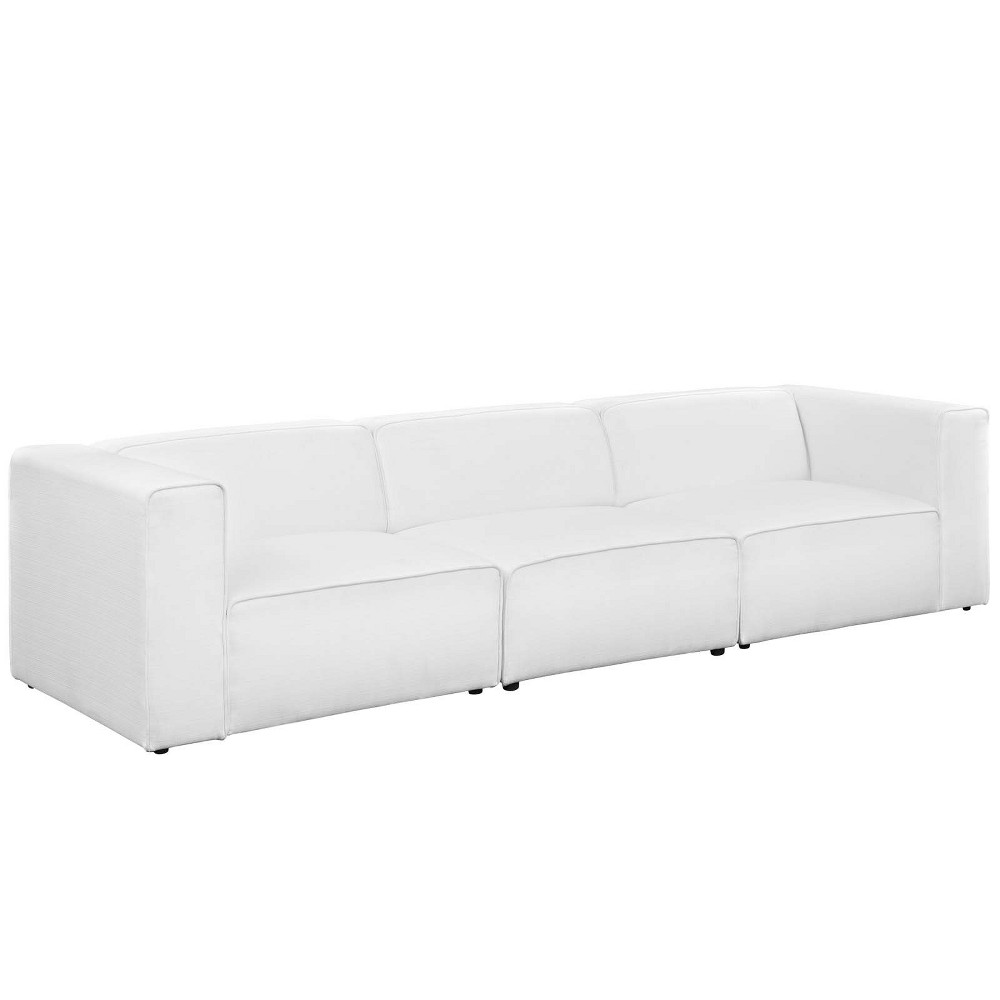 Mingle 3pc Upholstered Fabric Sectional Sofa Set White - Modway