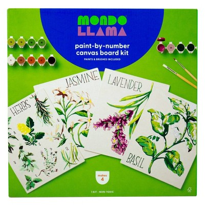 4pk Paint-By-Number Canvas Board Kit Florals - Mondo Llama™