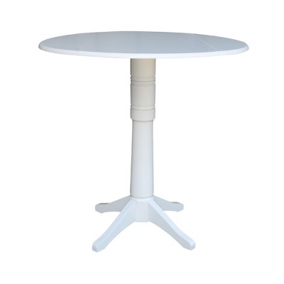 "42"" Nina Round Top Dual Drop Leaf Pedestal Table White - International Concepts"