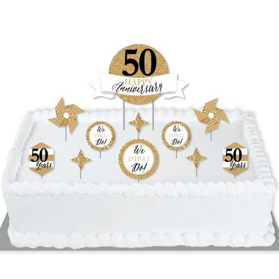 Big Dot of Happiness We Still Do - 50th Wedding Anniversary - Anniversary Party Cake Decorating Kit - Happy Anniversary Cake Topper Set - 11 Pieces