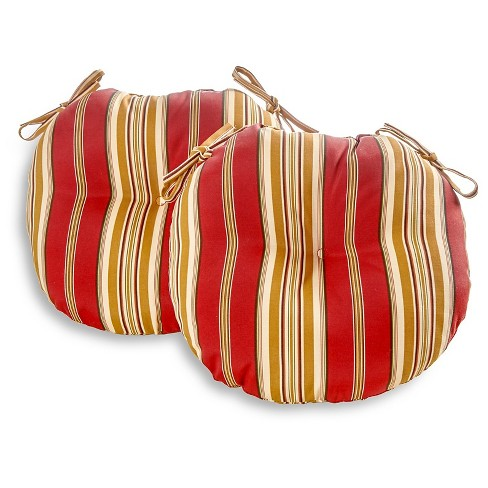 """Set of Two 18"""" Roma Stripe Outdoor Bistro Chair Cushions - Kensington Garden - image 1 of 4"""