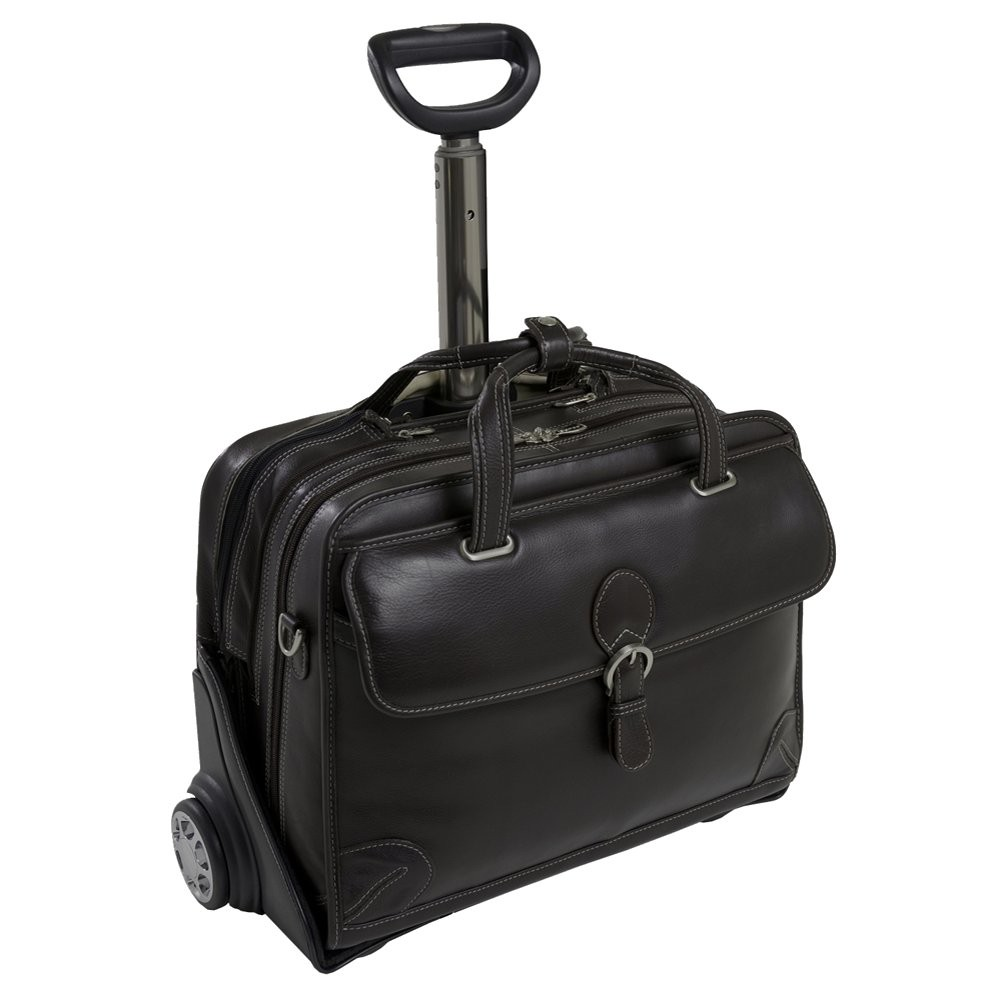 Siamod Carugetto 15 Leather Patented Detachable - Wheeled Laptop Briefcase (Black)