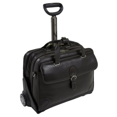 Siamod Carugetto 15 Leather Patented Detachable Wheeled Laptop Briefcase Black