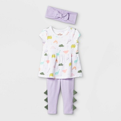 Baby Girls' Dino Short Sleeve Top & Bottom Set with Headband - Cat & Jack™ White