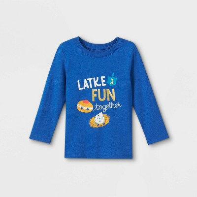 Toddler Boys' Hanukkah Graphic Long Sleeve T-Shirt - Cat & Jack™ Blue