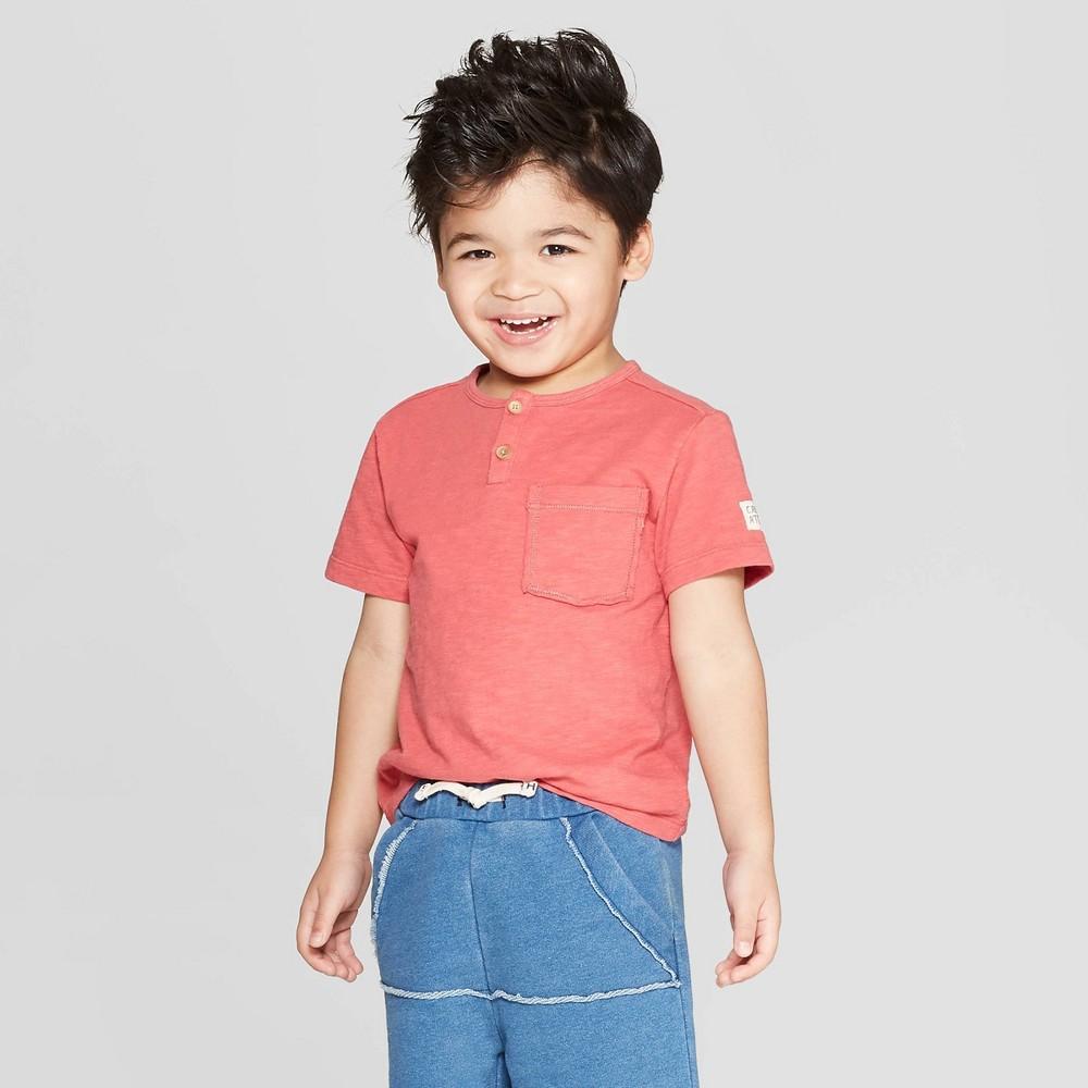 Toddler Boys' Short Sleeve Henley T-Shirt - art class Red 3T