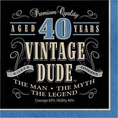 48ct Vintage Dude 40th Birthday Napkins Blue
