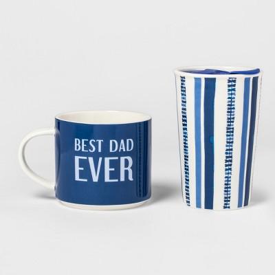 2pc Porcelain Best Dad Ever Traveler Set - Threshold™