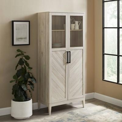 "68"" Boho Modern Fusion Tall Liquor Cabinet Metal and Wood - Saracina Home"