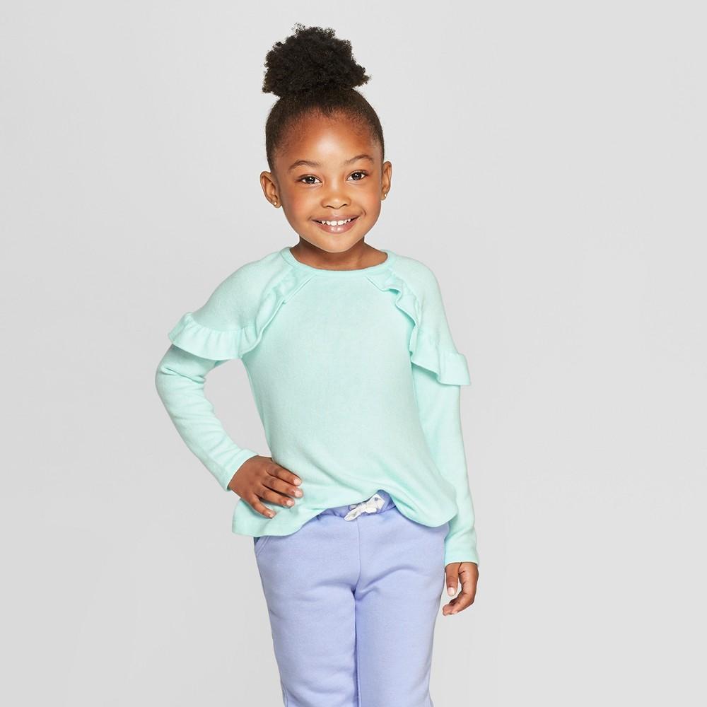Toddler Girls' Long Sleeve Cozy Pullover Sweater - Cat & Jack Aqua 5T, Green