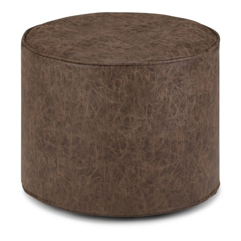 Talia Round Pouf Distressed Brown Faux Leather - Wyndenhall - image 1 of 4