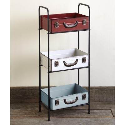 Lakeside Suitcase Shelving Cabinet - Unique Accent Shelves with Vintage Look