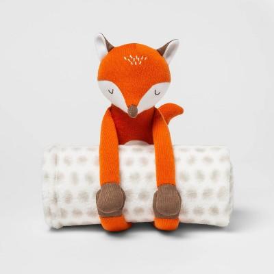 Fox Throw Buddy Blanket White - Pillowfort™