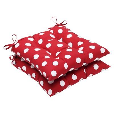 Outdoor 2-Piece Chair Cushion Set - Red/White Polka Dot