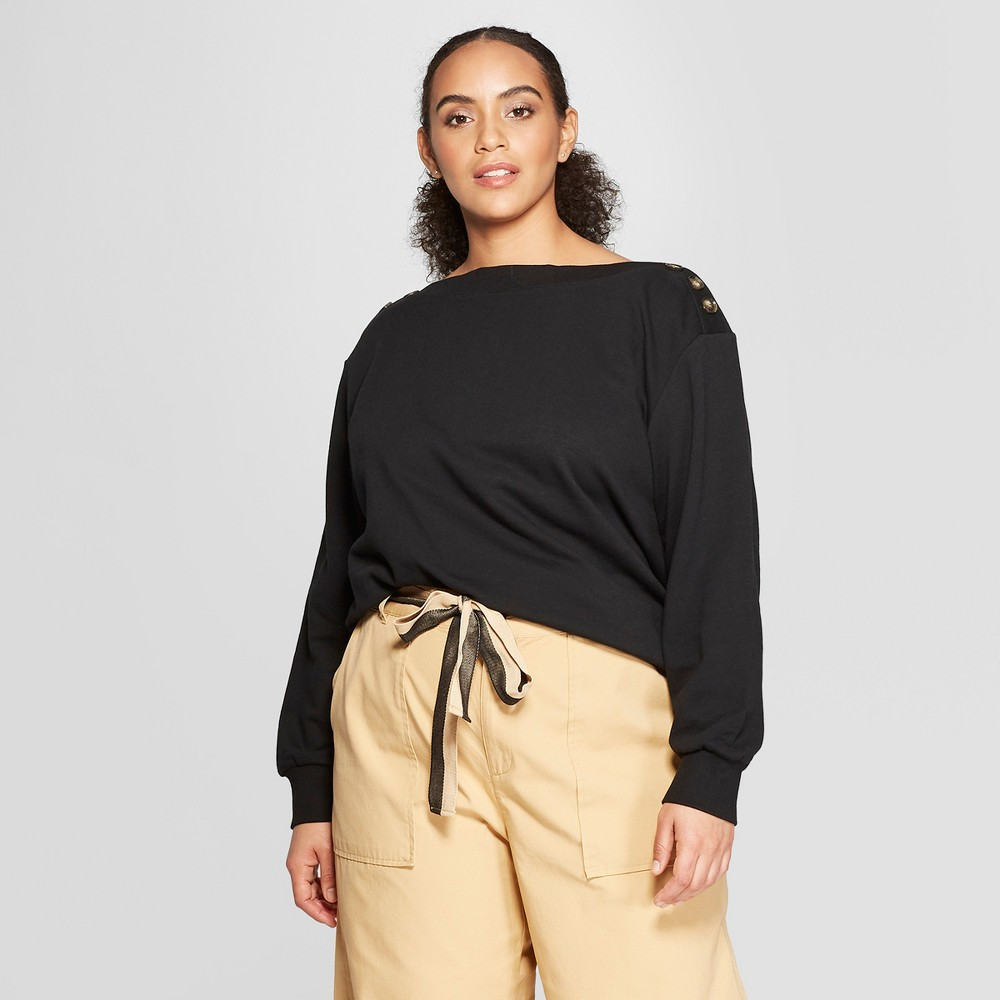 Women's Plus Size Long Sleeve Button Shoulder Sweatshirt - Who What Wear Black 1X
