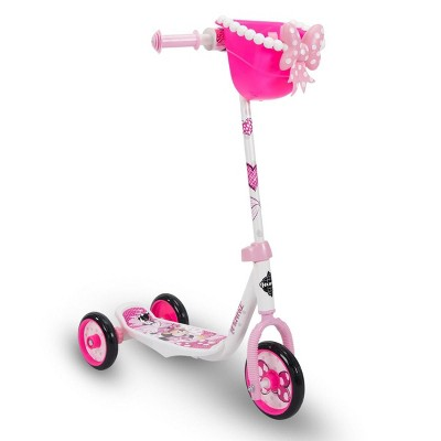 Huffy Disney Minnie Mouse Kids Toddler 3 Wheel Ride On Kick Scooter with Basket