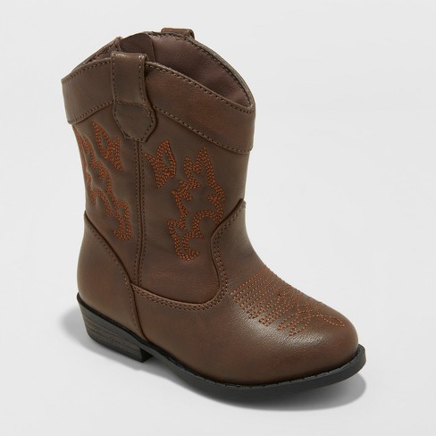 Toddler Boys' Ollie Cowboy Western Boots -Cat & Jack™ Brown - image 1 of 3