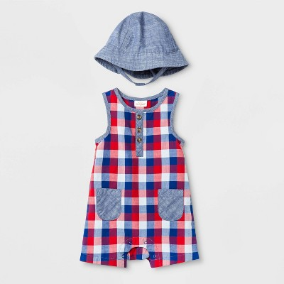 Baby Boys' Woven Plaid Romper with Hat - Cat & Jack™ Navy Newborn