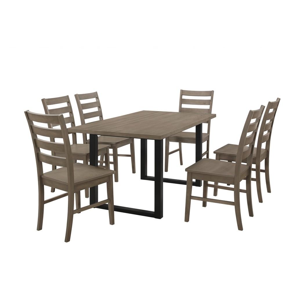 Whitley 7pc Wood Dining Set Aged Gray - Saracina Home