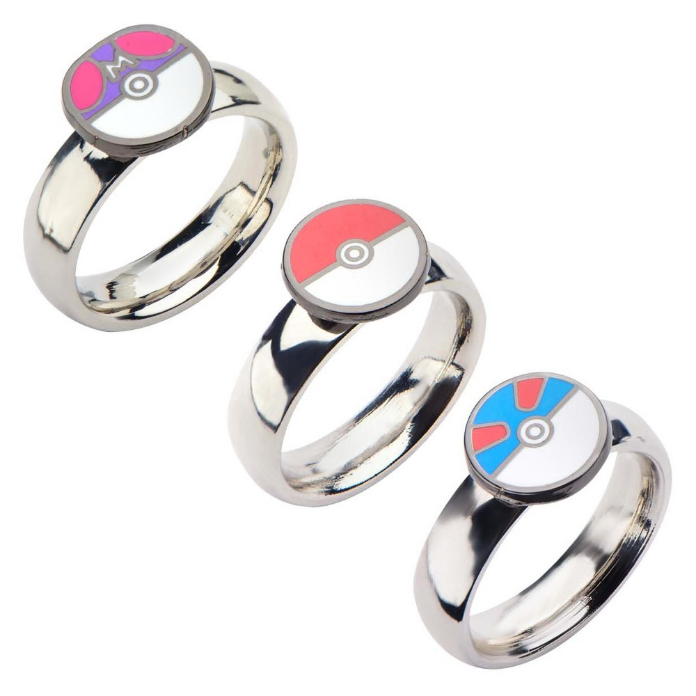 Men's Pokémon Poke Master and Great Ball Stainless Steel Ring - (8), Silver