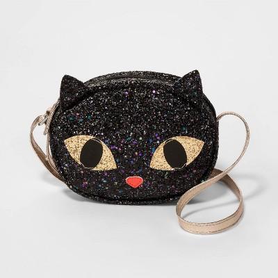 Kids' Glitter Halloween Cat Crossbody Bag   Cat & Jack™ Black by Cat & Jack