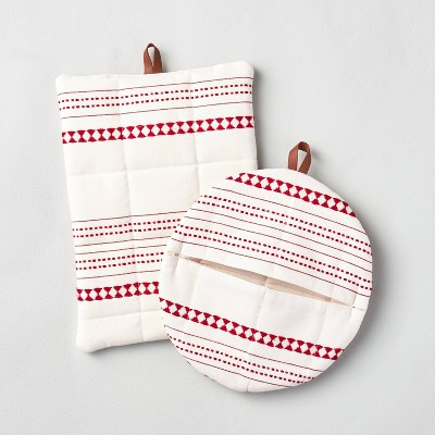 2pc Woven Jacquard Stripes Potholder Set Red - Hearth & Hand™ with Magnolia