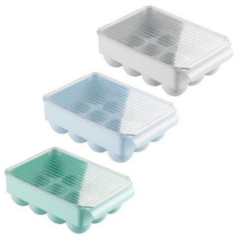 mDesign Stackable Egg Tray Holder Container, Set of 3 - Gray/Green/Blue - image 1 of 4