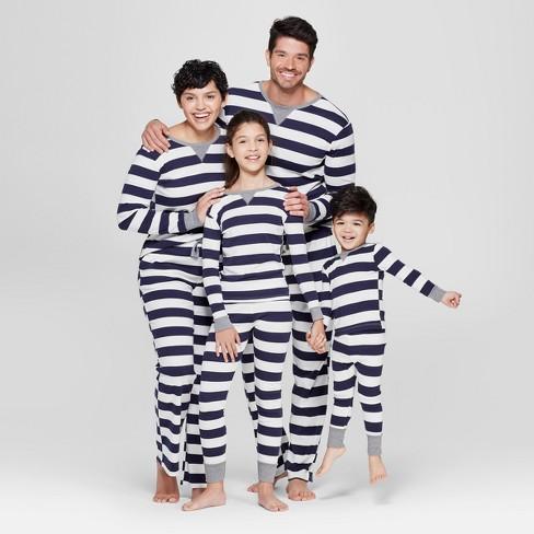 Kid s Striped Pajama Set - Navy   Target 284a4b399