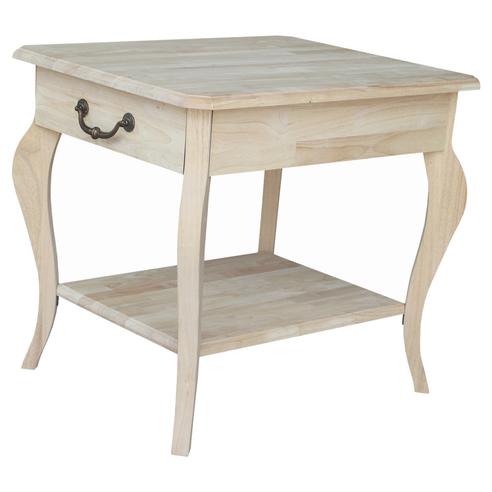 Cambria End Table - Unfinished - International Concepts, Wood