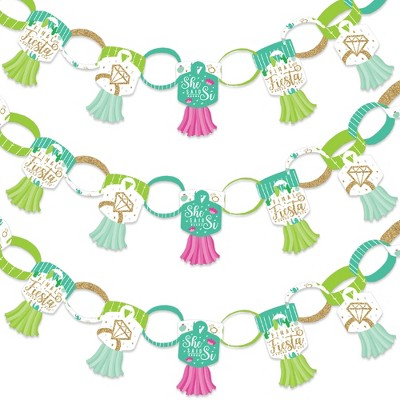 Big Dot of Happiness Final Fiesta - 90 Chain Links and 30 Paper Tassels Decoration Kit - Last Fiesta Bachelorette Party Paper Chains Garland - 21 feet
