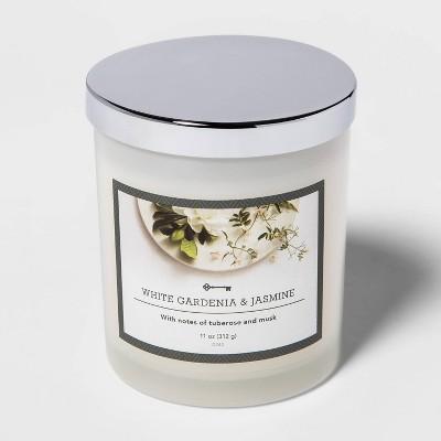 11oz Lidded Milky Glass Jar White Gardenia and Jasmine Candle - Threshold™