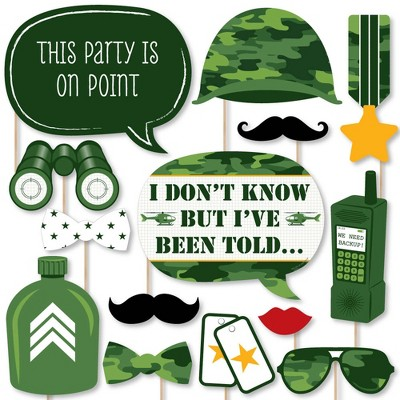 Big Dot of Happiness Camo Hero - Army Military Camouflage Party Photo Booth Props Kit - 20 Count
