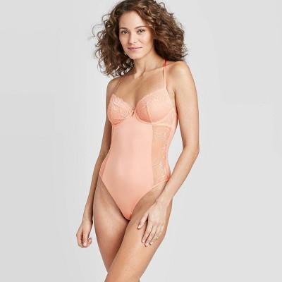 Women's Unlined Underwire Bodysuit - Auden™ Dark Peach M
