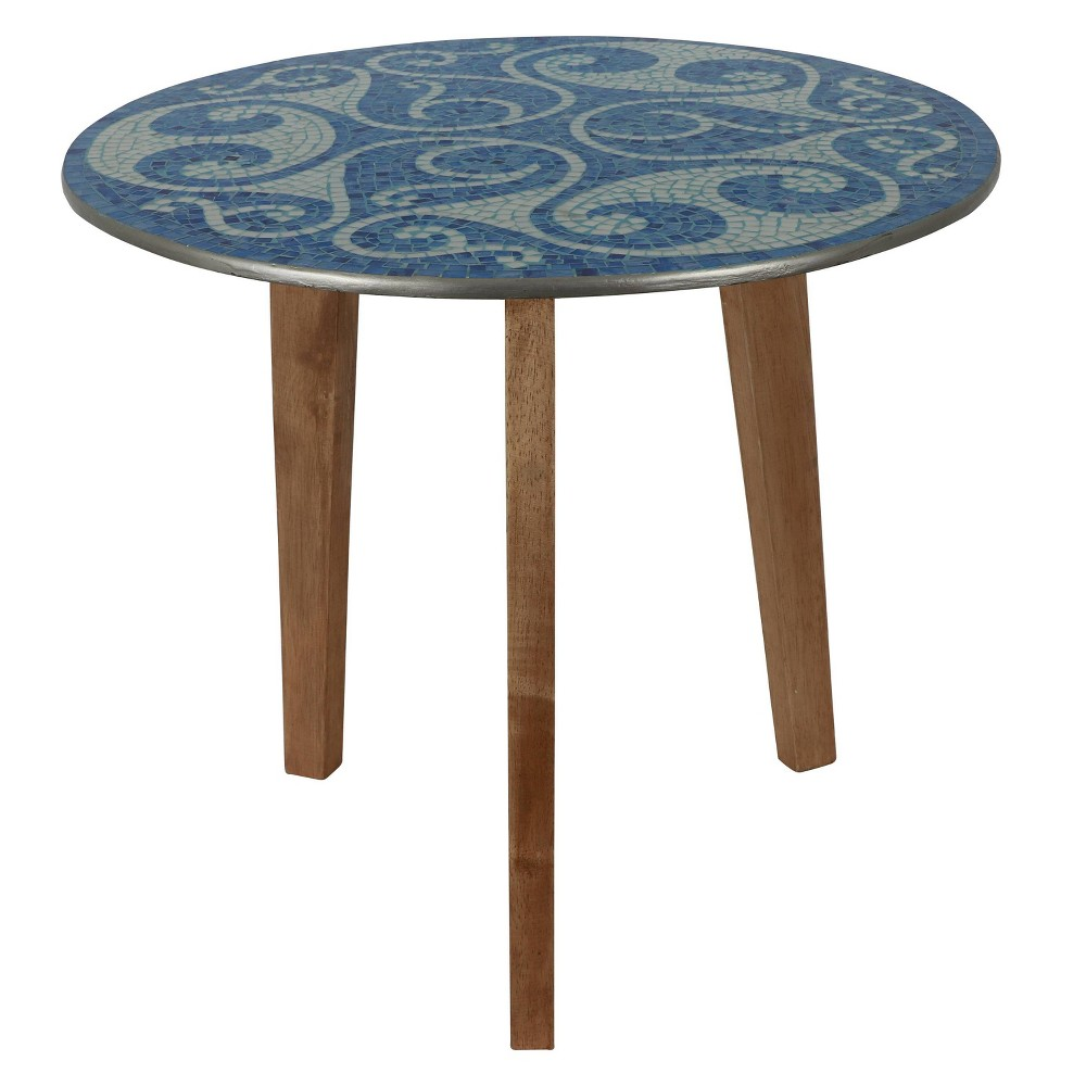 Discounts Swirl Mosaic End Table Blue/White - Décor Therapy