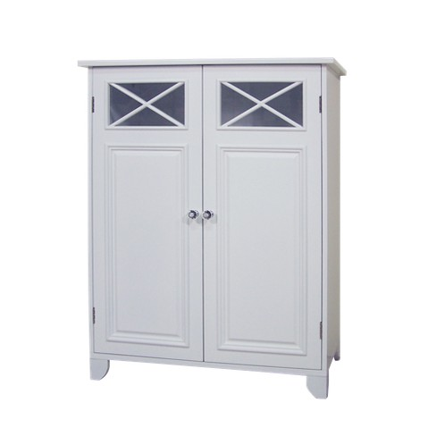 Dawson Floor Cabinet With 2 Doors White Elegant Home Fashions