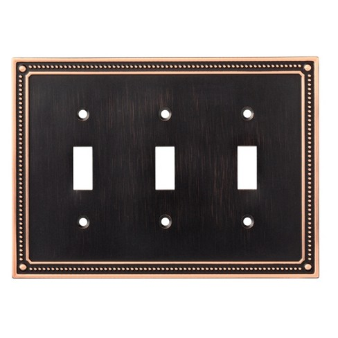 Franklin Brass Classic Beaded Triple Switch Wall Plate Bronze with Copper Highlights - image 1 of 3