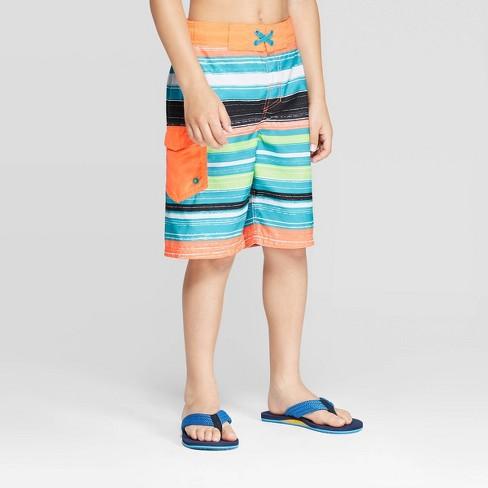 Boys' Chalk Stripe Swim Trucks - Cat & Jack™ Orange - image 1 of 3