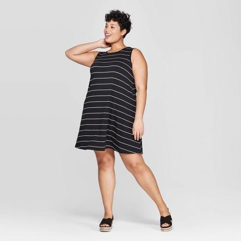 Women\'s Plus Size Striped Sleeveless Scoop Neck Knit Swing Dress ...