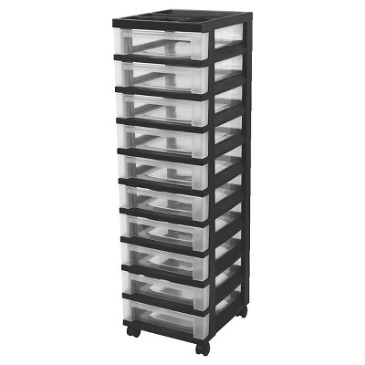 IRIS 10 Drawer Rolling Storage Cart   Black