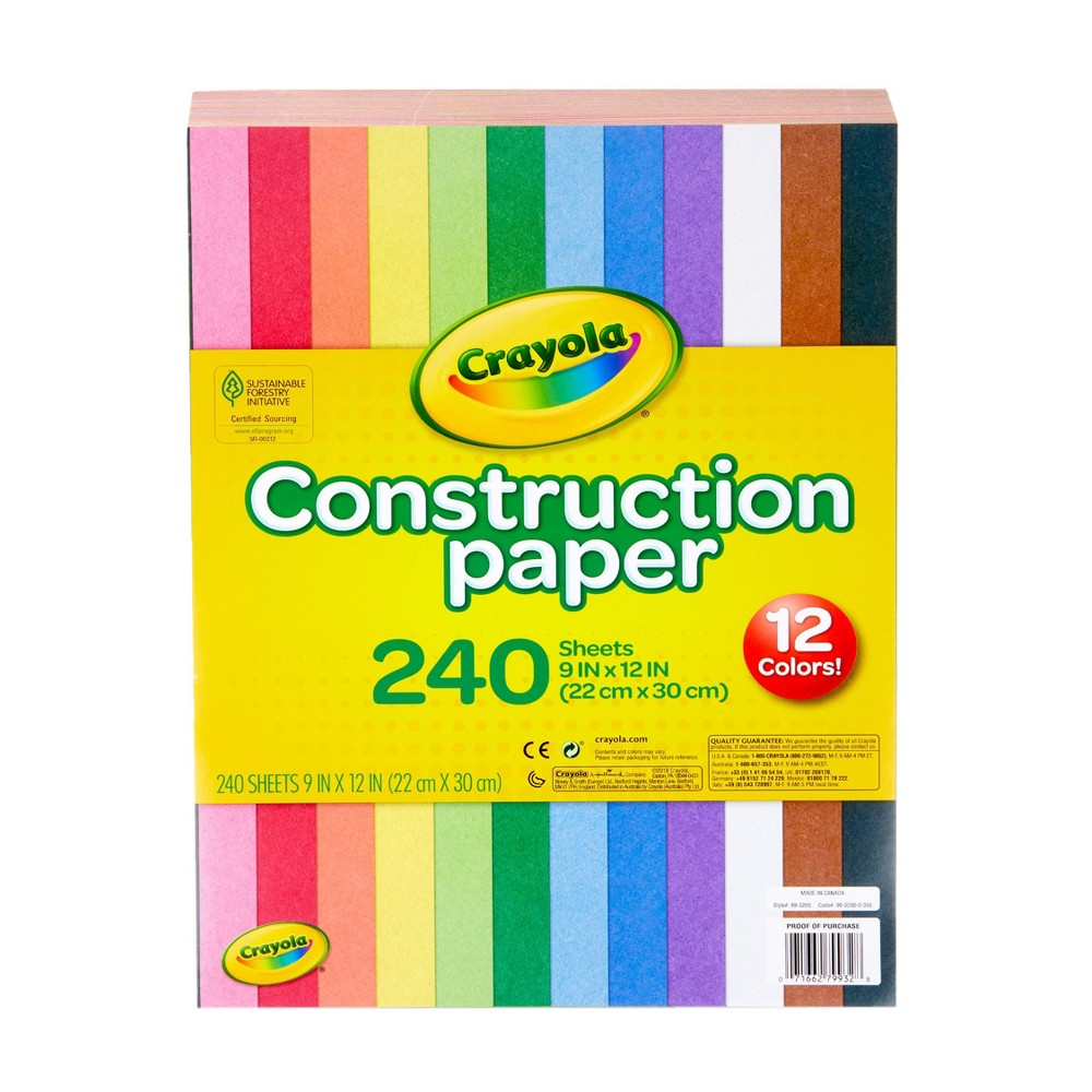 Crayola 240 Sheets Construction Paper 12 Assorted Colors
