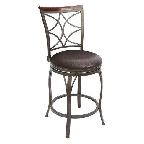 "Decorative Back Swivel Barstool with Curved Legs - 24"" - Espresso - Silverwood - image 1 of 3"