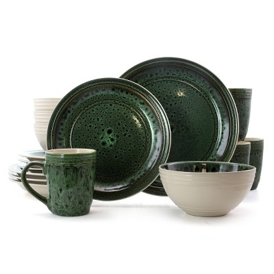 16pc Stoneware Forest Emerald Dinnerware Set Green - Elama